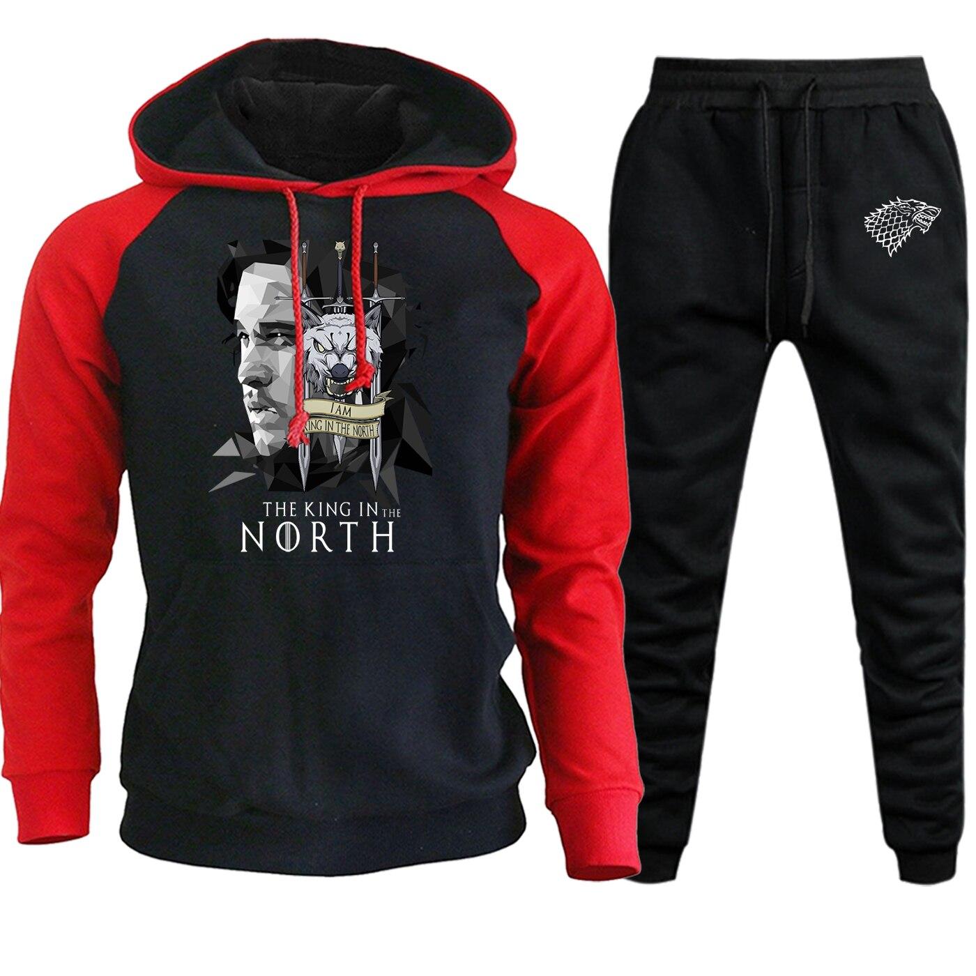 King In The North 2019 Autumn Winter Hooded Mens Raglan Sweatshirts Game Of Thrones Suit Casual Fleece Hoodies+Pants 2 Piece Set