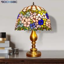 BOCHSBC Tiffany styl ludowy lampa stołowa orchidea barwione szklane biurko światło z łańcuszkiem przełącznik stop złota dekoracyjna rama oświetlenie tanie tanio ROHS CN (pochodzenie) Łóżko pokój MULTI Dół BOCHSBC-SF-20210111-1 Szkło Ue wtyczka 90-260 v Pilot zdalnego sterowania
