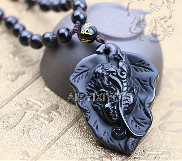 Golden Obsidian Pixiu Leaf necklace