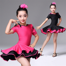 Детские платья для девочек; платье для латиноамериканских бальных танцев; костюмы для выступлений на сцене с короткими рукавами; детская тренировочная одежда