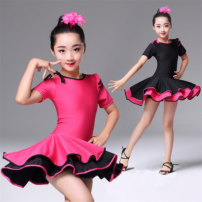 Kids Dresses For Girls Latin Ballroom Dance Dress Competition Short Sleeve Stage Performance Costumes Kids Practice Wear