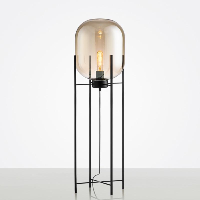 Amber Glass Floor Lamp Four Tripod Lamp Postmodern Bedroom Smoke Gray Glass Standing Lamp  Floor Lamps For Living Room