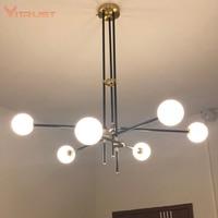 Criativo bola de vidro pingente lâmpada nordic simples e moderno pendurado luz da lâmpada haste de ferro tubo luminária loft ferro pingente luz|Luzes de pendentes| |  -