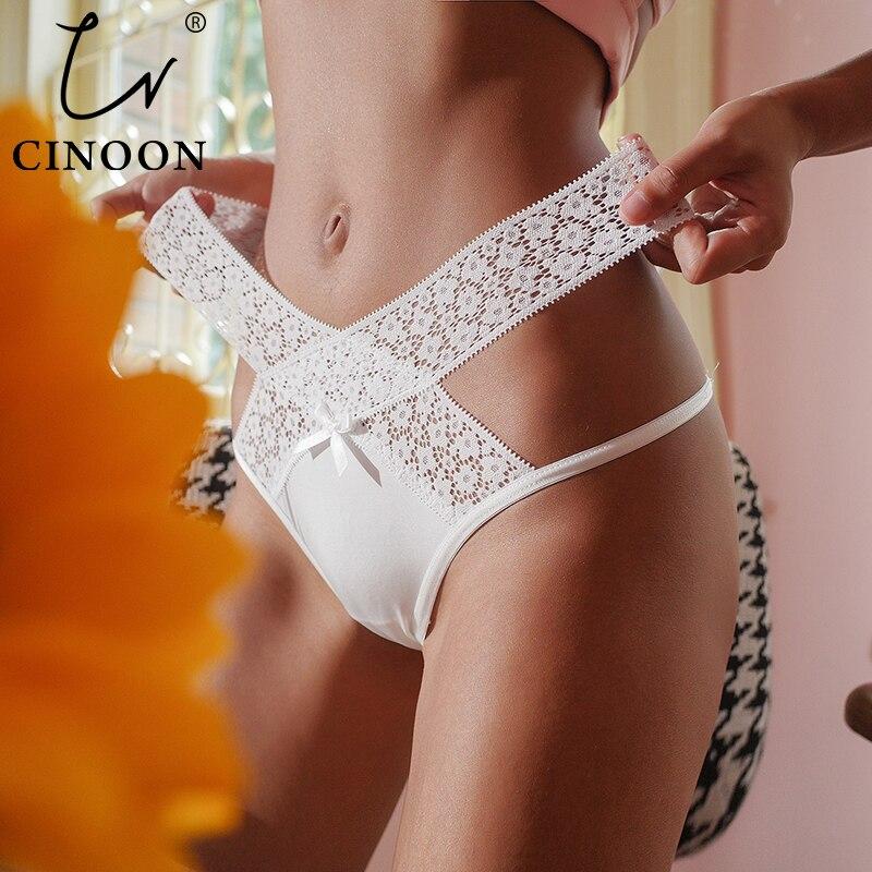 CINOON yeni kadın seksi dantel külot düşük bel iç çamaşırı tanga kadın G String nefes iç çamaşırı Hollow out katı Intimates