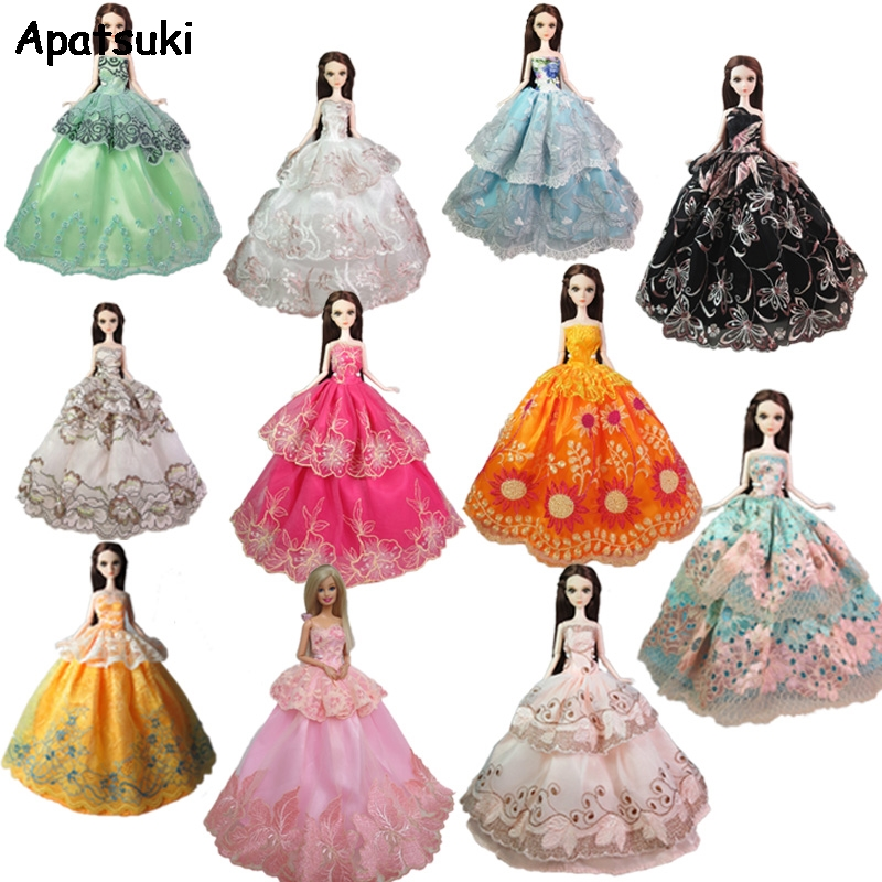 Lot Doll Clothes Gown Dress For Barbie Fashion Outfit Crown Bag Gift Set FASHION