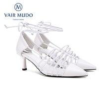 Bombas femininas sapatos primavera verão outono sexy moda elegante couro genuíno cruz-amarrado apontou toe 2021 salto alto 6.5cm d45l