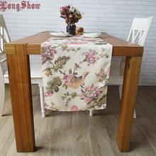 Longshow Thick Soft Floral Tweed Fabric 33x180cm Table Runner(China)