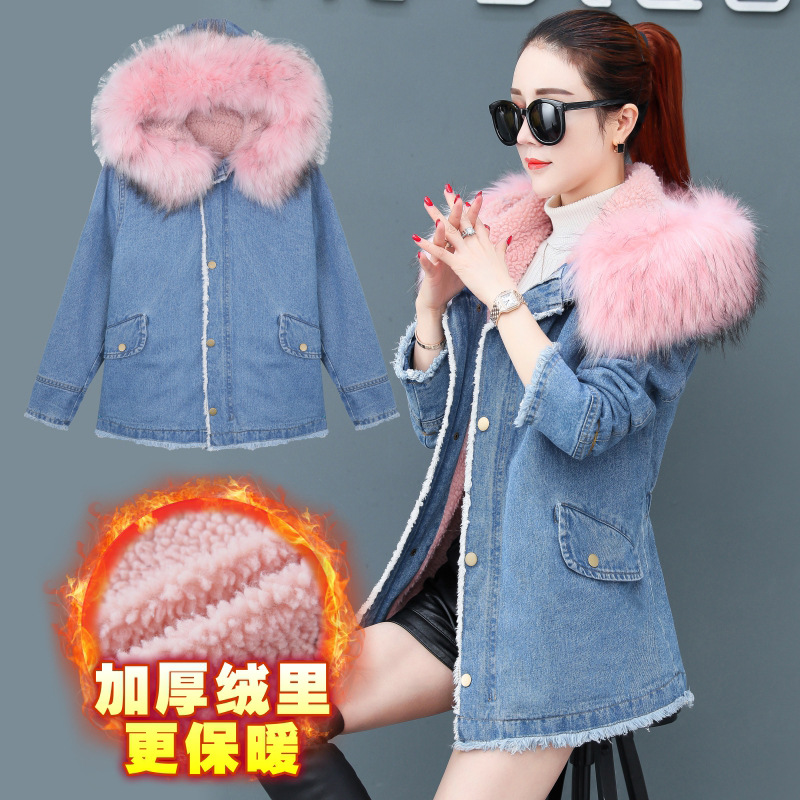Jeans Coat Women's 2019 New Style Winter Korean-style Loose-Fit Brushed And Thick Hooded Mid-length Large Size Winter Fashion