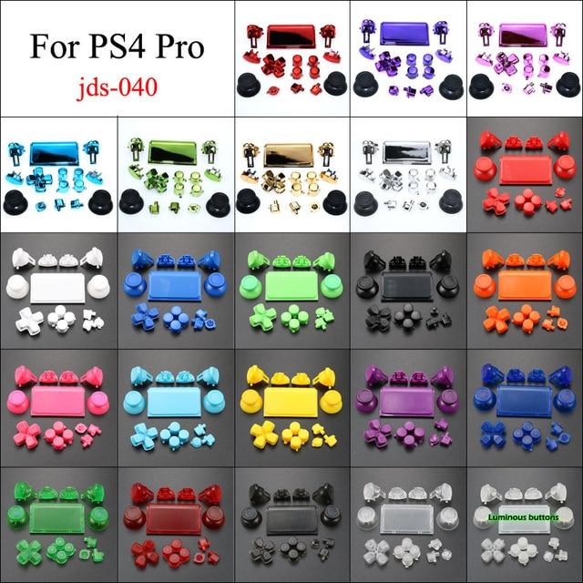 YuXi ensemble chromé pour Dualshock 4 PS4 PRO contrôleur mince jds 040 jds 040 Dpad L1 R1 L2 R2 boutons de déclenchement poignées analogiques