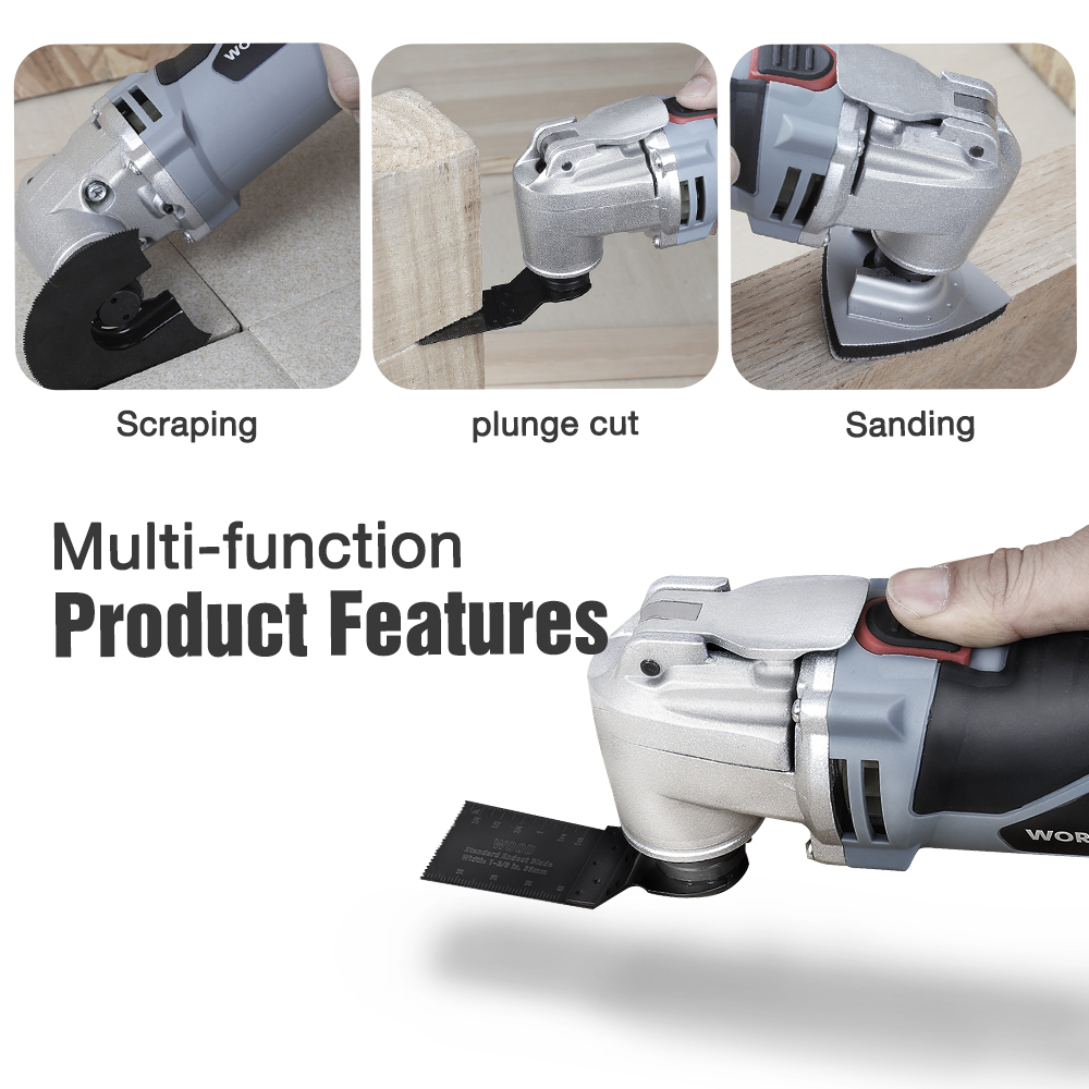Tools : WORKPRO 250W Oscillating Multi-Tool  Electric Trimmer Saw  Home Renovator Tool DIY Woodworking Tool With 40pc Accessory Kit