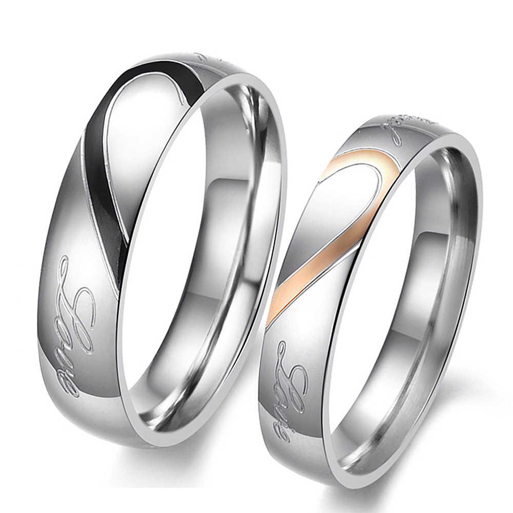 Acier inoxydable coeur forme Couple anneaux ensemble lettre déclaration réel amour anneaux bande à la mode amour cadeau femmes accessoires mode