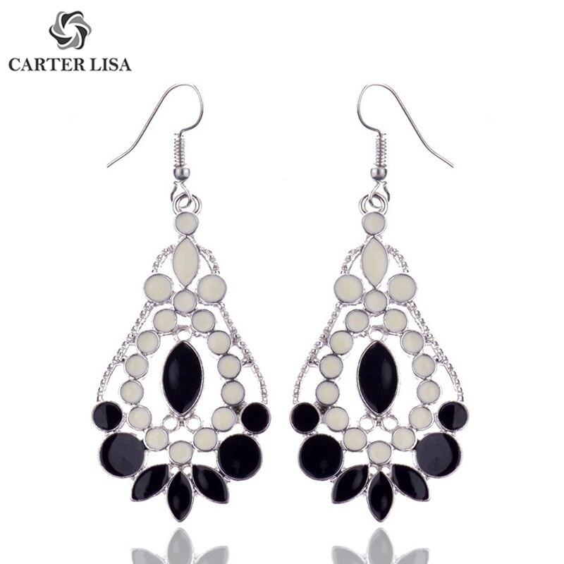 CARTER LISA 2019 Women Vintage  Enamel Flower Drop Dangle Earrings For Women Bohemian Jewelry Gifts Accesorios Mujer HQE-000196