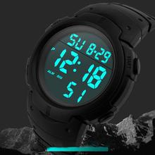 Waterproof Men #8217 s Digital Wristwatches Silicone LCD Digital Stopwatch Date Rubber Sport Wrist Watch montre homme мужские часы cheap SANWOOD Plastic 22 5cm 3Bar Buckle ROUND Acrylic Back Light LED display 8106926 No package 55mm