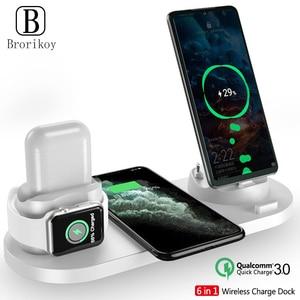 Image 1 - ワイヤレス充電器多機能高速充電 iphone 用スタンド 11 プロ x xs 時計 5 4 3 airpods プロワイヤレス急速充電器