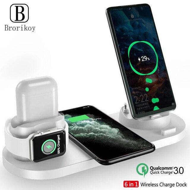 ワイヤレス充電器多機能高速充電 iphone 用スタンド 11 プロ x xs 時計 5 4 3 airpods プロワイヤレス急速充電器