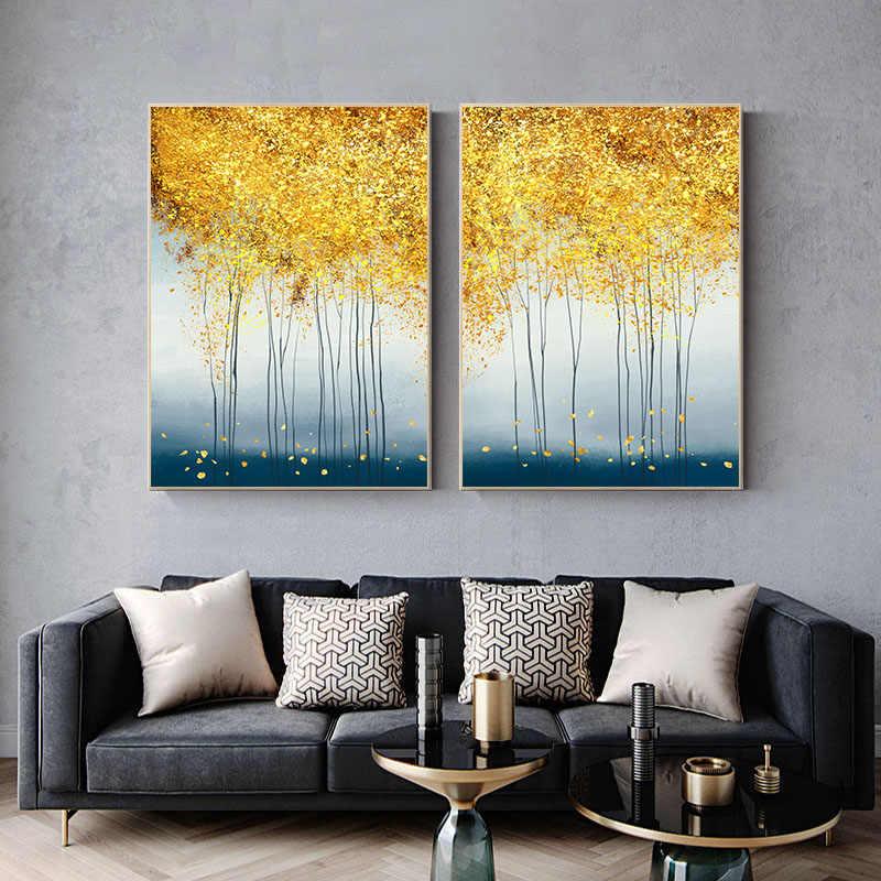 مجردة الغابات الذهبي ورقة ملصق فني الشمال المشهد قماش طباعة طلاء جدران الحديثة نمط ديكور صورة ديكور المنزل
