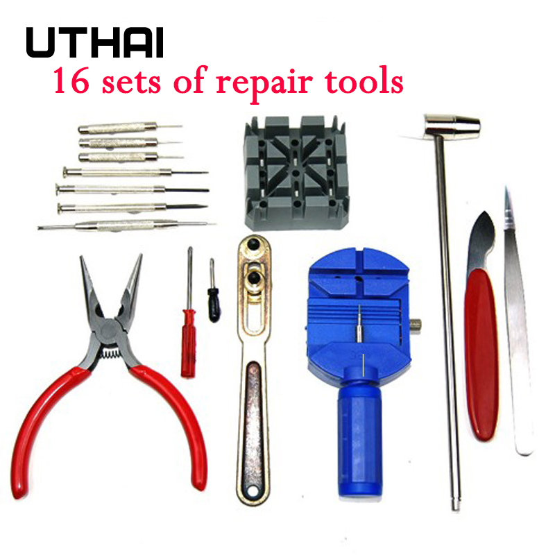 UTHAI P26 16Pcs Watch Tools Watch Opener Remover Pry Screwdriver Clock Watch Repair Tool Kit Watchmaker Tools Parts