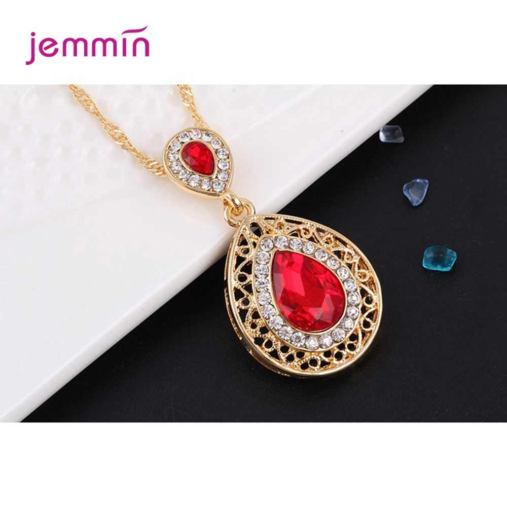 Latest Design Genuine 925 Sterling Silver Pendant Necklace + Earrings Jewelry Set For Women High Quality Wedding Jewelry Set