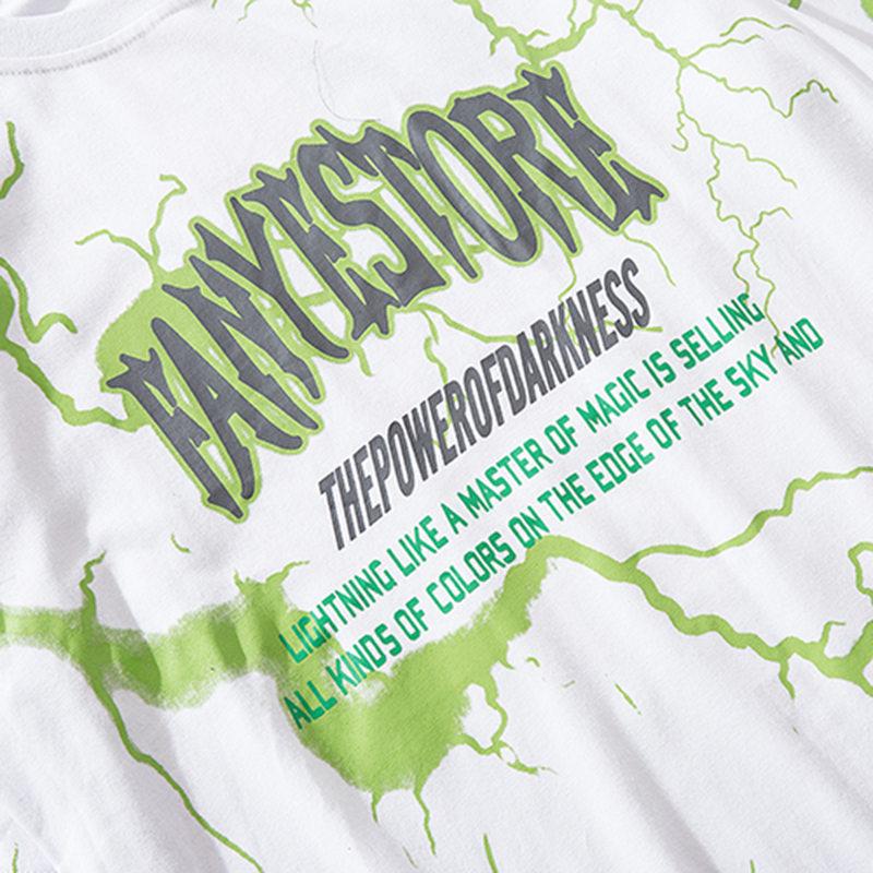2019 T Shirt Mens Hip Hop Dark Lightning Tshirt Streetwear Summer Cotton Harajuku T-Shirts Short Sleeve Tops Tees Street Wear