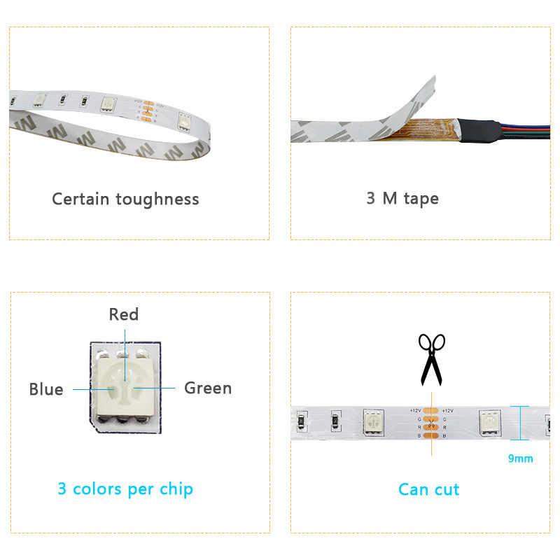 Tira led 5050 dc12v luz led cuerda flexible neón rgb cinta flexible luz con fuente de alimentación + IR remoto para el hogar Cocina Navidad