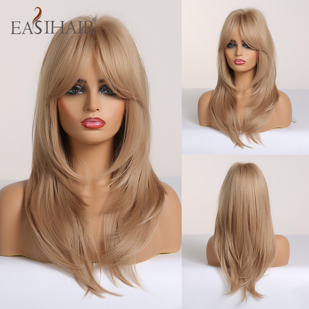EASIHAIR Blonde Omber Wigs With Bangs Synthetic Wigs For Women Heat Resistant Medium Length High Temperature Fiber Cosplay Wig