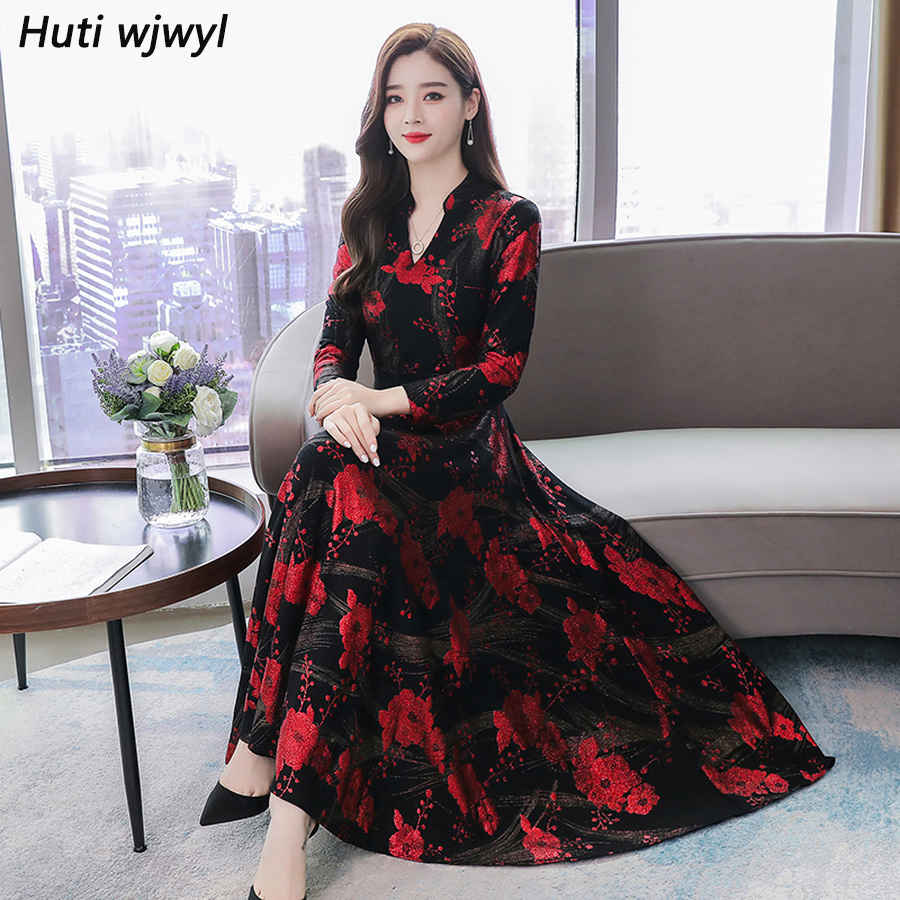 2019 Vintage Red Print Midi Dress Autumn Winter Female 3XL Plus Size Long Sleeve Maxi Dress Elegant Women Bodycon Party Vestidos