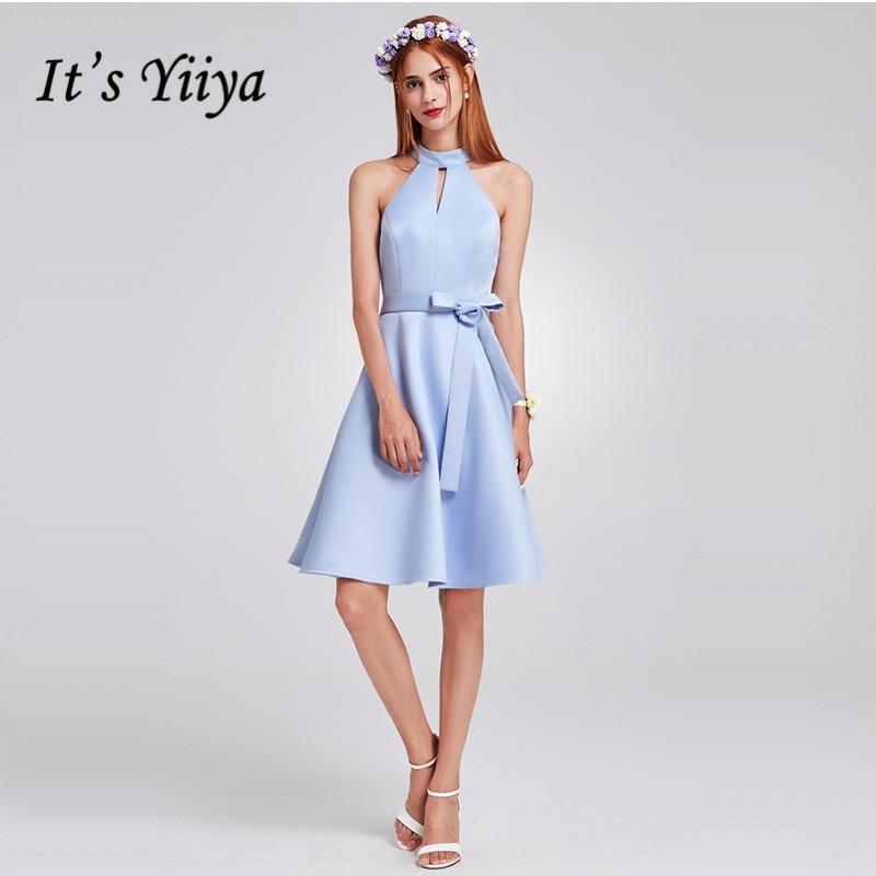 It's Yiiya Prom Dress Plus Size Sky Blue Knee Length Women Party Gowns C414 Elegant Sleevelvess Halter Formal Dresses 2020