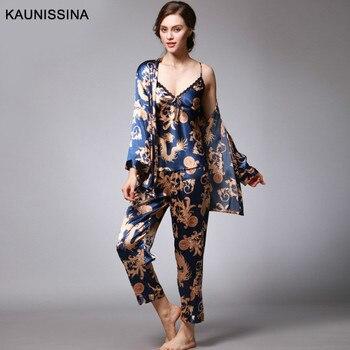 Women 3 Pieces Silk Pajamas Sets Sexy Kimono Robe Printed Sleepwear Kit Female Nightwear Satin Loungewear Summer Spring