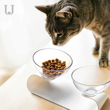 Youpin Jordan&Judy Pet Dog Cat Pet Double Bowl Transparent Tilt Design Healthy Material for cat and dog