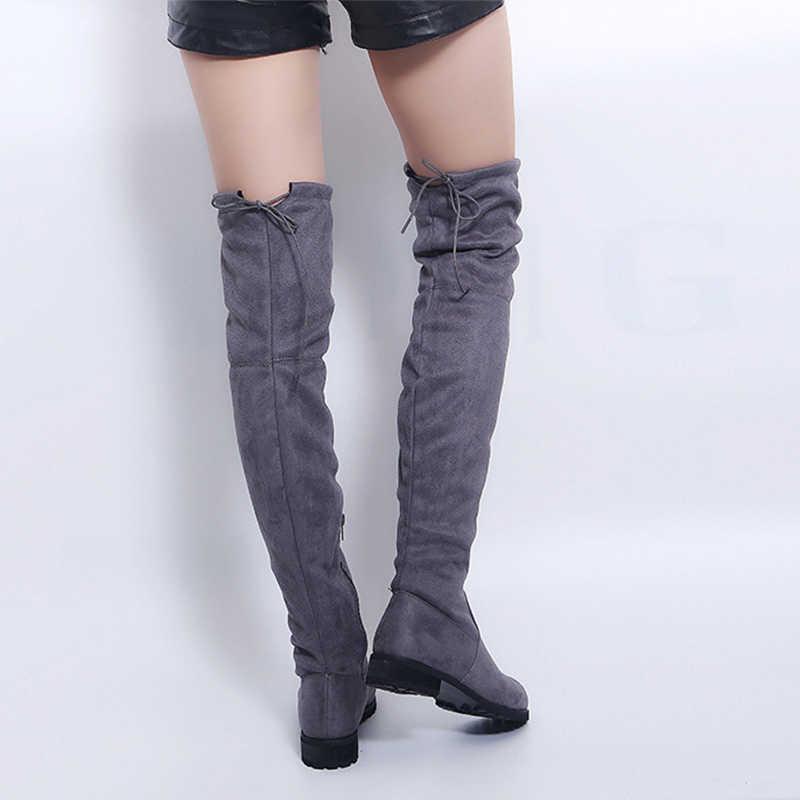 Gợi Cảm Trên Đầu Gối Giày Nữ Nữ Giày Nữ Da Lộn Dài Giày Bốt Nữ Thời Trang Mùa Đông Đùi Cao Cấp Giày Mùa Đông Giày plus Kích Thước