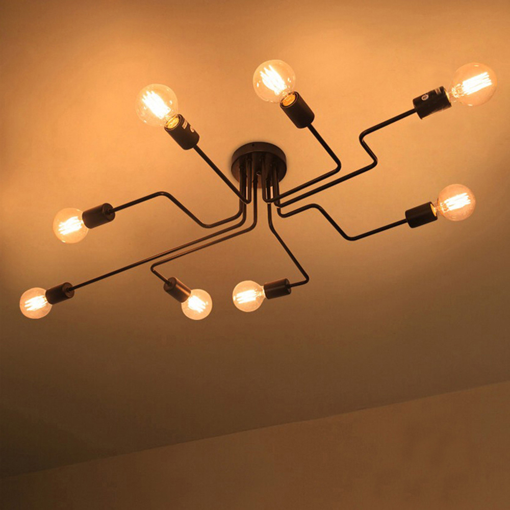 American Retro Style Iron Ceiling Lamps 4 6 8 Head Flush Mount Ceiling Light Indoor Lighting American Retro Style Iron Ceiling Lamps 4/6/8 Head Flush Mount Ceiling Light Indoor Lighting Vintage Ceiling Lights Fixtures