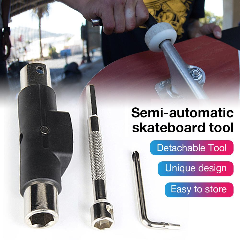 Semi-automatic Skateboard Tool Removable Tool With File Labor-saving Wrench //