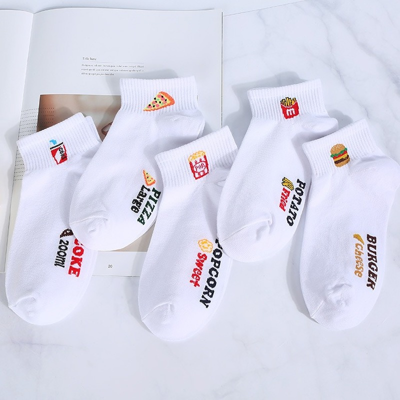 Japanese Harajuku Kawaii Funny Socks Spring And Summer New Cartoon Fries Burger Pure Cotton Leisure Women Socks 11902
