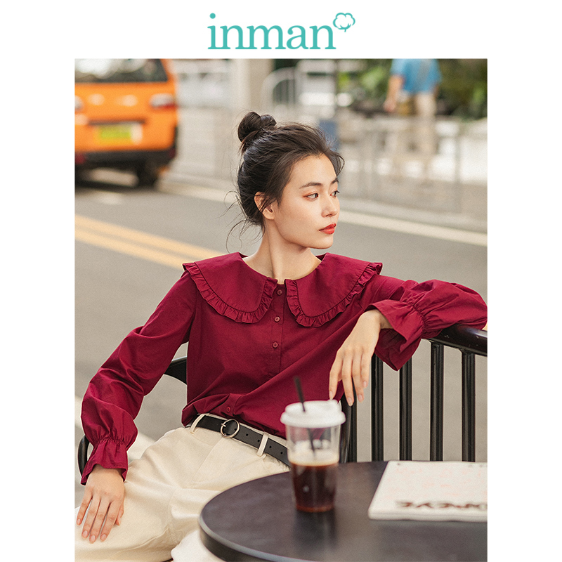 INMAN Spring Autumn 100%Cotton Wine Retro Agaric Lace Turn Down Collar Literary Cute Young Girl Women Blouse