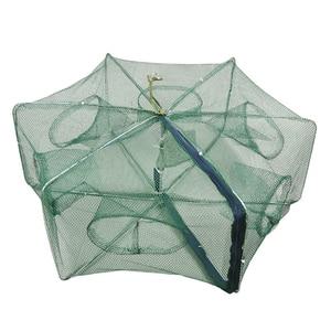 Image 5 - Automático dobrado rede de pesca 6 16 furos armadilha para furos de peixe fundido dobrável reforçado rede de pesca de lagostins