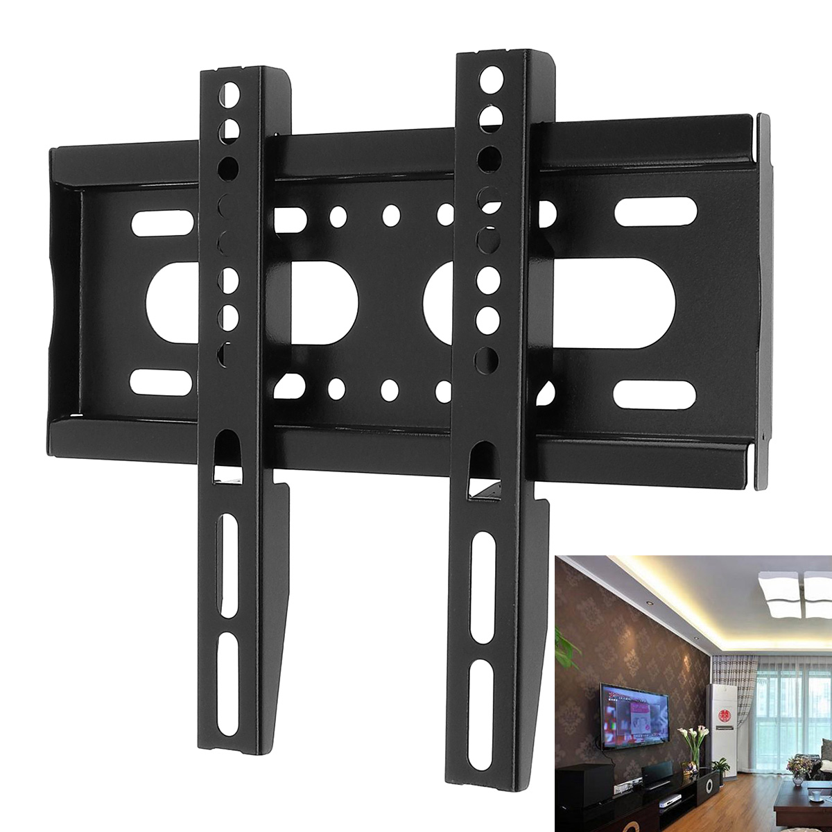 Universal 25KG TV Wall Mount Bracket Fixed Flat Panel TV Frame with Mounting Accessories Set Fit for 14-42 Inch LCD LED Monitor