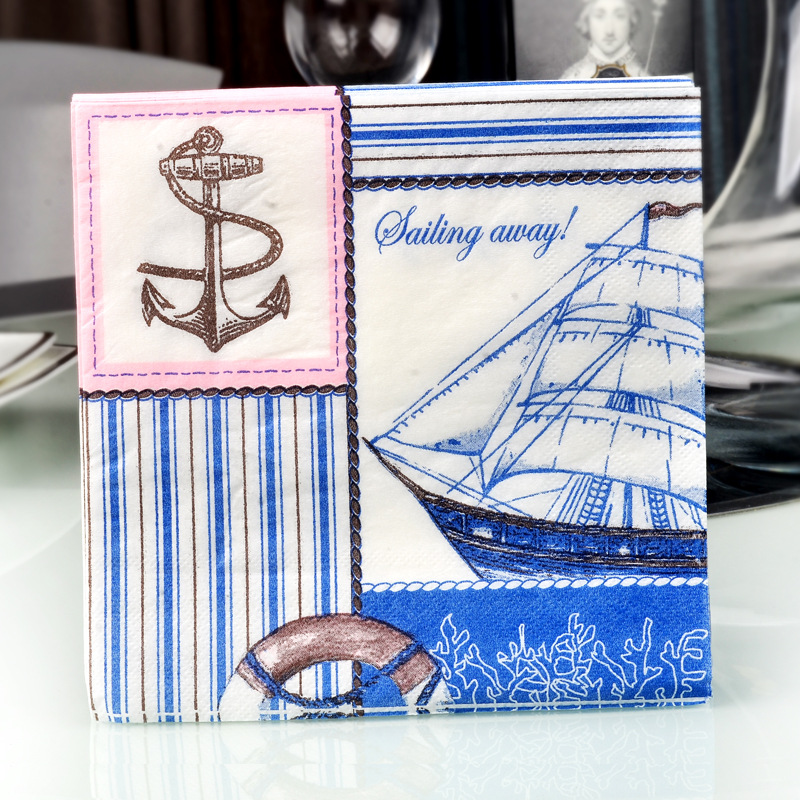 [Factory Direct Selling] Blue Sailboat Napkin Printed Paper Placemat Hotel Wedding Banquet Cup Stained Paper Disposable Napkin