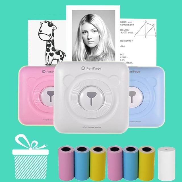 Mini POS Portable Printer Pocket Mobile Photo Ptinter Thermal Bluetooth 58mm Wireless Label Printer with Adhesive Sticker Paper