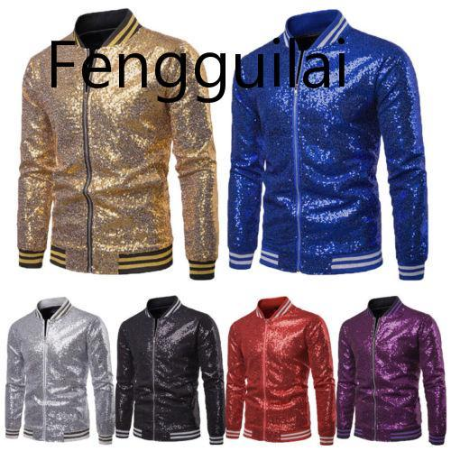 FENGGUILAI Men Shiny Blazers Gold Sequin Glitter Suit Jackets Male Nightclub One Button Suit Blazer DJ Stage Blazers