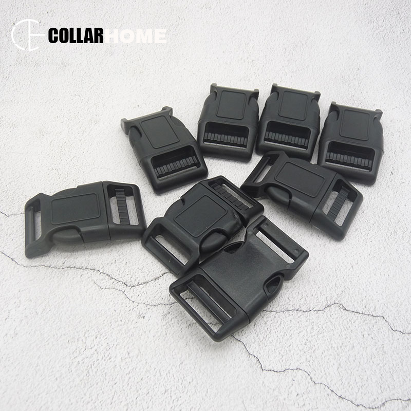 Qualité 100 Pcs/Lot courbé côté libération en plastique boucles pour 25mm sangle sangles outils de bricolage noir Arts artisanat couture bricolage collier de chien