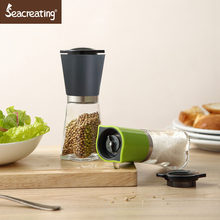 Seacreating 2PC SET 6 INCH Manual Pepper Mill Stainless Steel & Glass Salt and Pepper Grinder Kitchen Spice Grinder Tools