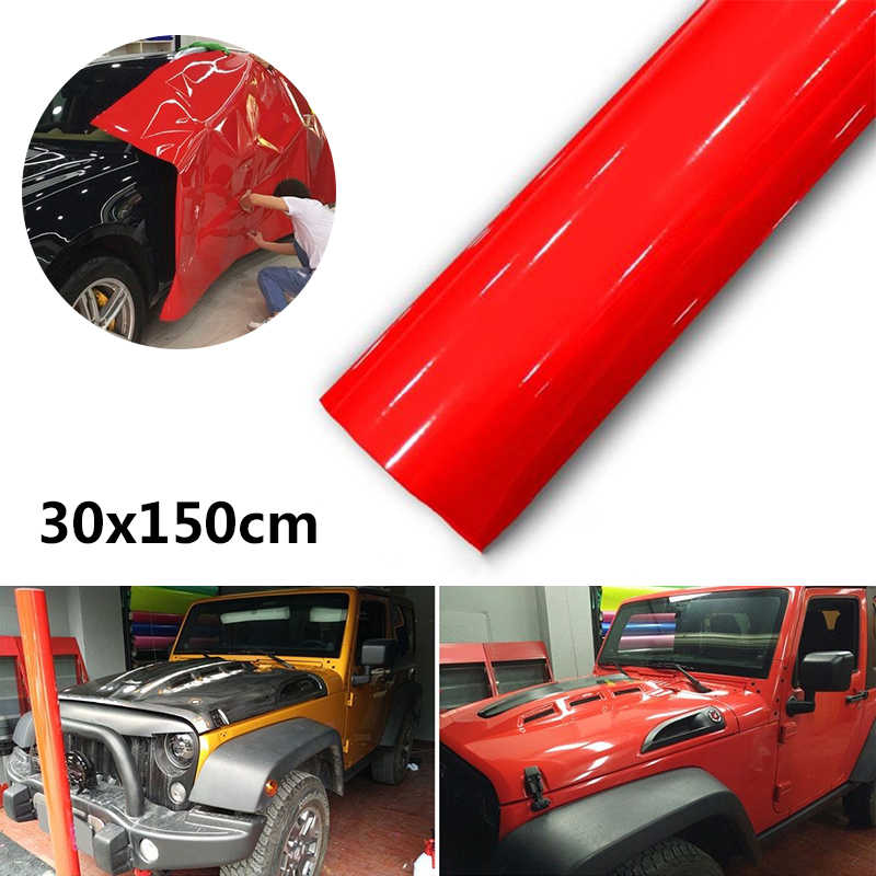 Super-Gloss Rosso Pellicola Del Vinile Adesivo Bolla di Aria Libera Del Corpo di Automobile Film Accessori Decorazioni Styling 30*150 CENTIMETRI adesivi per auto