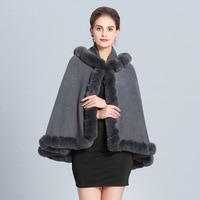 SWONCO Woolen Coat Cape With Hood Women Phocho Faux Fox Fur Winter Cloak Women Cape Dress Coat 2019 Ponchos Y Capas Mujer Capes
