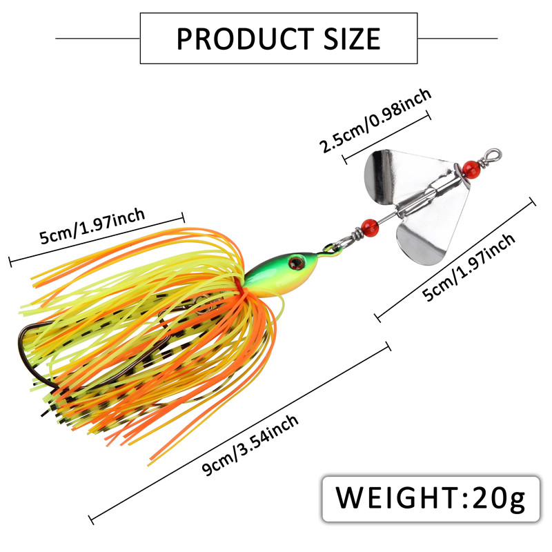 6pcs 12pcs 20g Artificial Metal spinner bait Chatterbait metal spoons with silicone skirts lure for pike bass trout fishing-1
