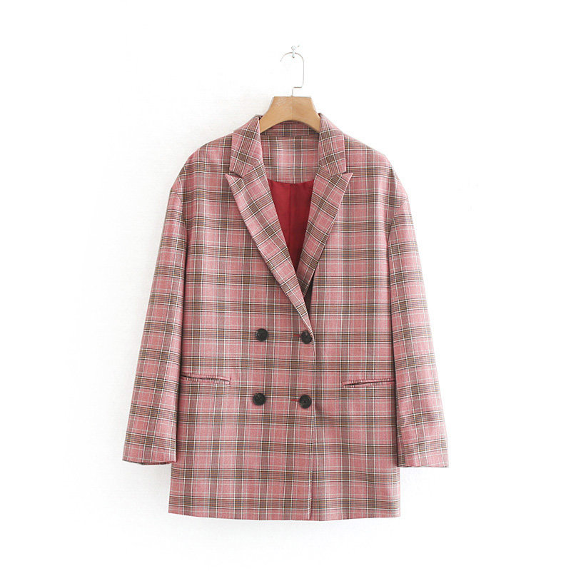 Women Elegant Casual Loose Plaid Print Blazer Notched Collar Pocket Double Breasted Female Stylish Outwear Coat Chic Tops CT281