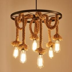 Przemysł 6 głowic żyrandol na poddaszu edison E27 światła konopie zawieszka na sznurku podłużna lampa restauracja kawiarnia jadalnia pokój dzienny droplight w Wiszące lampki od Lampy i oświetlenie na