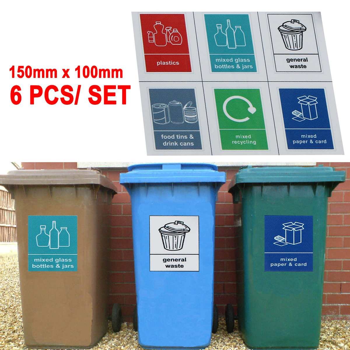 Trash Bin Stickers Recycling Bin Sticker Classification Sign Recycle Bin Mixed Pack Self-adhesive 6 Stickers General Waste Logo