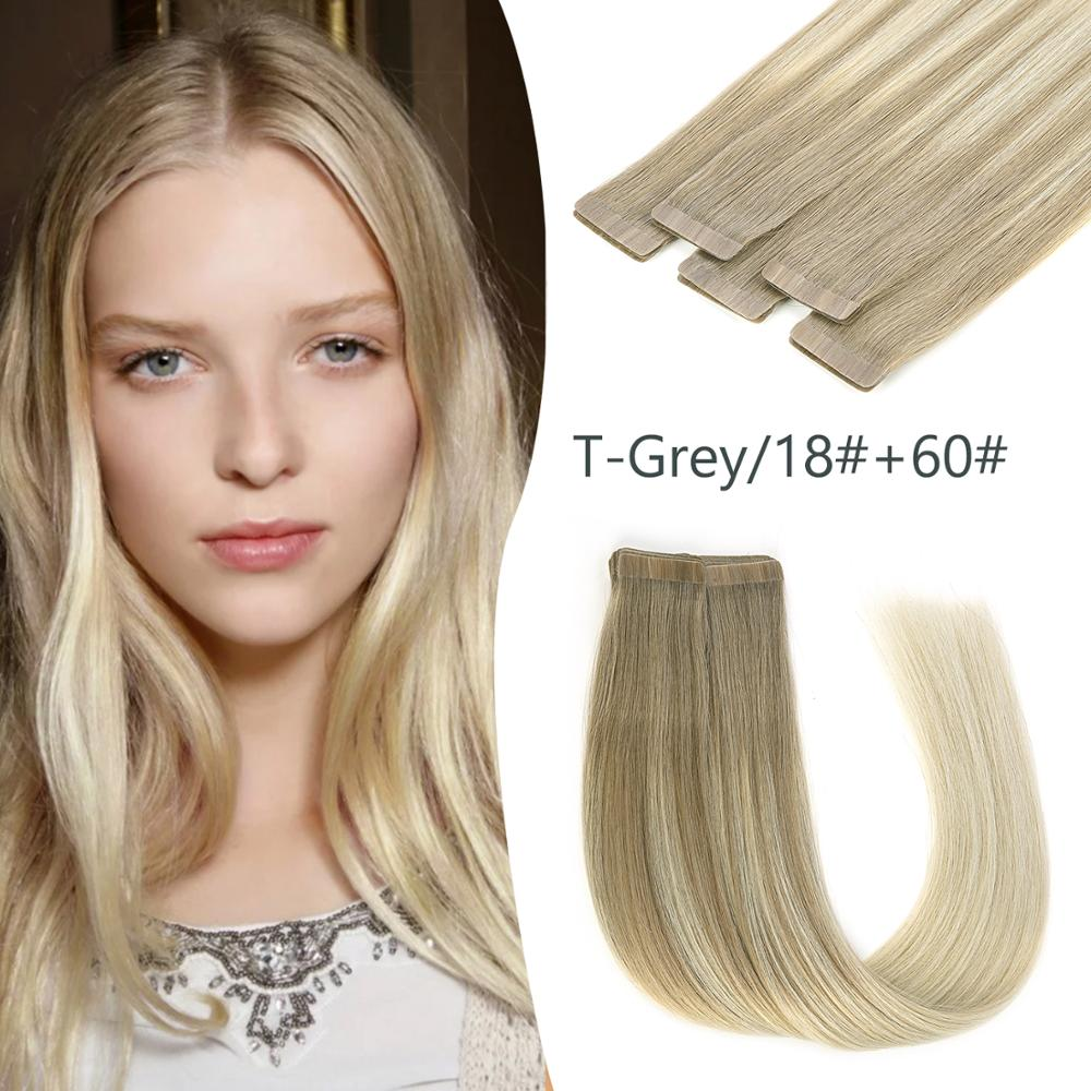 K.S WIGS 20'' 2.5g/pc Seamless Remy Tape In Human Hair Skin Weft Adhesive Hair Extensions T-Grey/18+60#