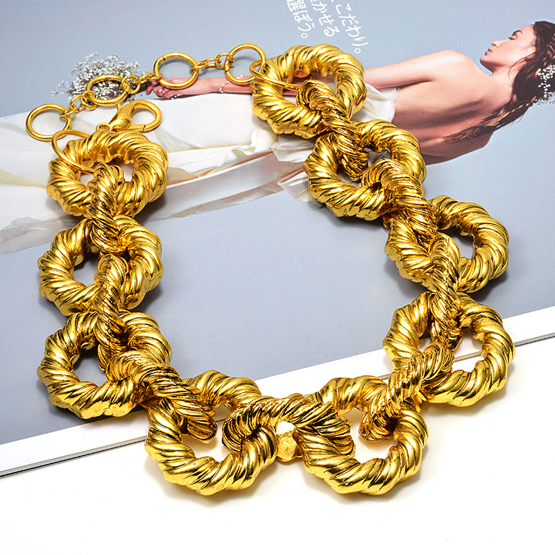 New Arrival Statement Luxury Gold Metal Hoops Necklace Fine Accessories For Women High end Fashion Trend Exaggerated Necklaces|Chain Necklaces|   - AliExpress