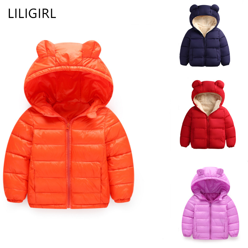 LILIGIRL Kids Hooded Jacket Boys Cute Bear Ears Hoodies Jacket Children Clothing For Girls Tops Coats Baby Casual Outwear in Down Parkas from Mother Kids
